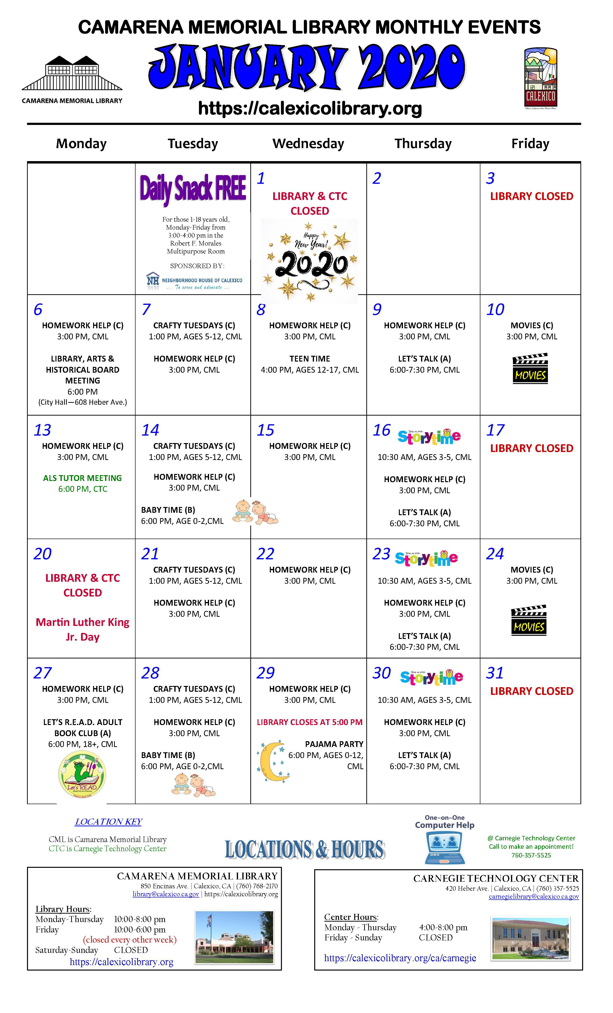 Calendar | Camarena Memorial Library throughout Tl Waggoner Calendar