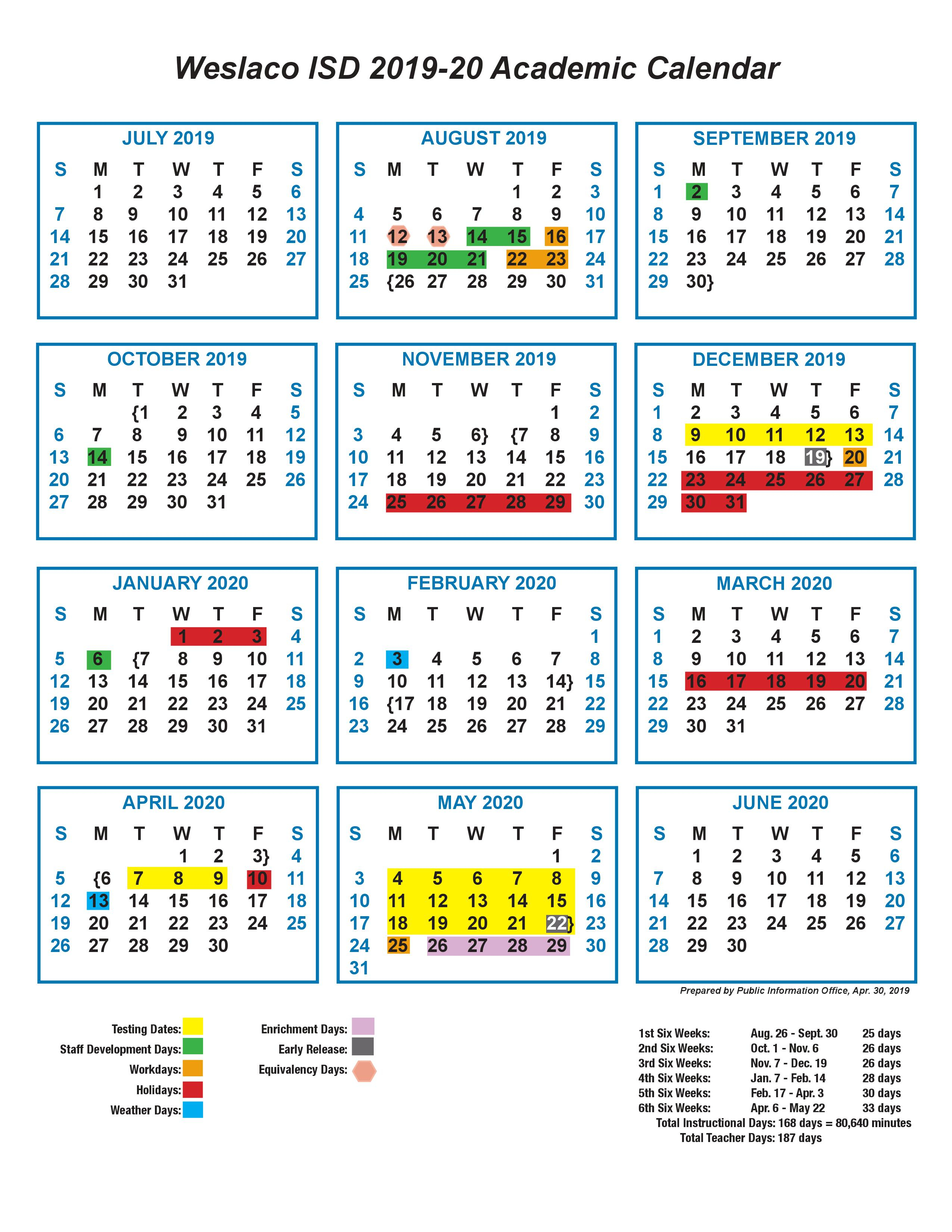 Calendar  Cuellar Middle School with 1St 3Rd And 5Th Weekend Calendar 2020