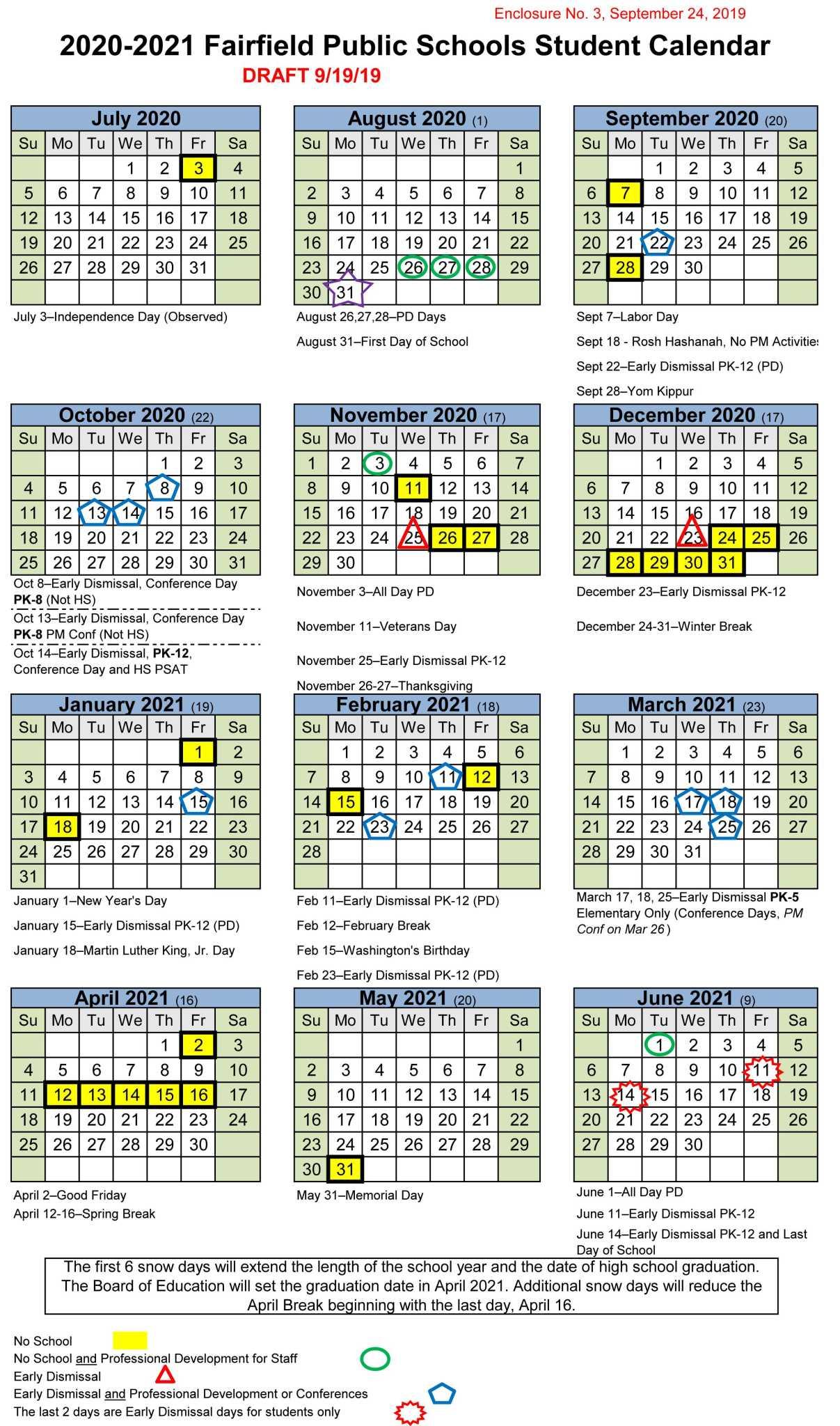 Calendar: Fairfield School Board Mulls Development Days in Trumbull School Calendar