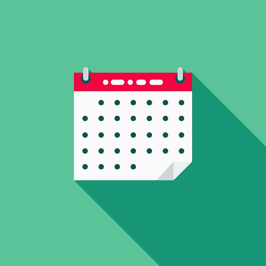 Calendar Flat Design School Supplies Icon With Side Shadow By Bortonia throughout Calendar Flat Design