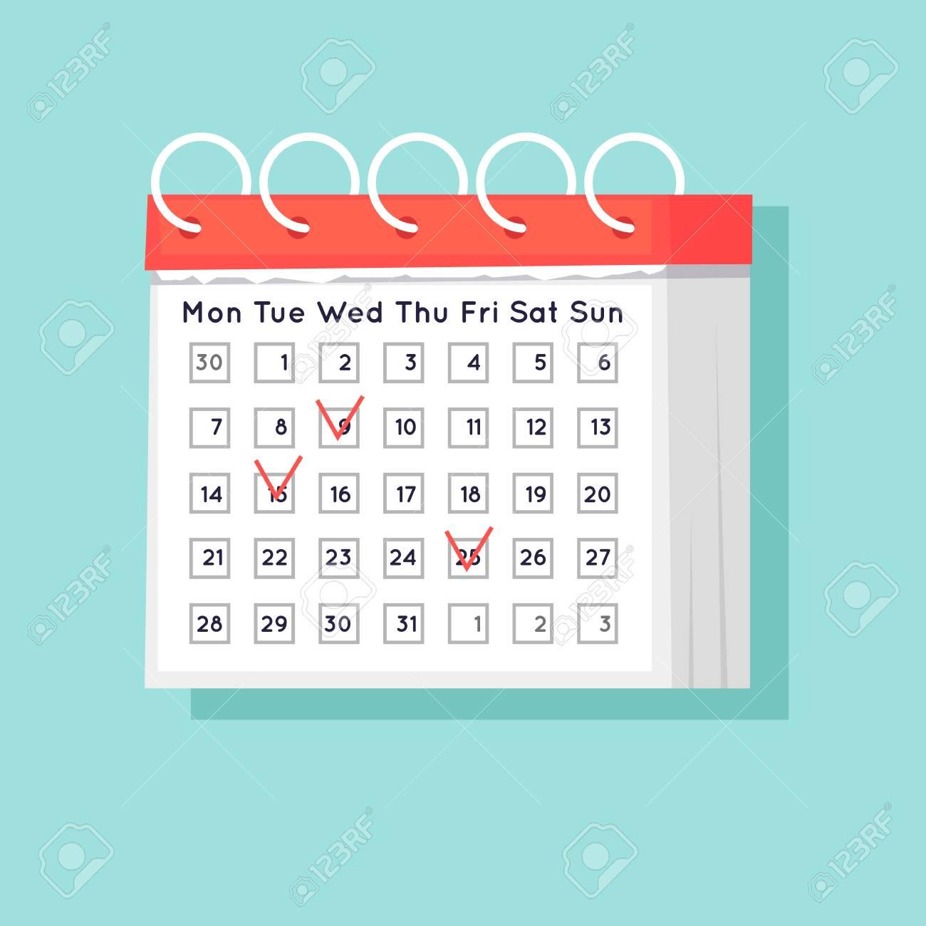 Calendar. Flat Design Vector Illustration. regarding Calendar Flat Design