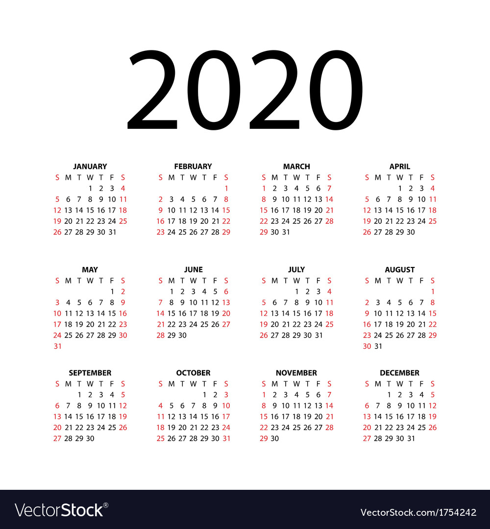Calendar For 2020 inside 2020 Calendar Vector Free
