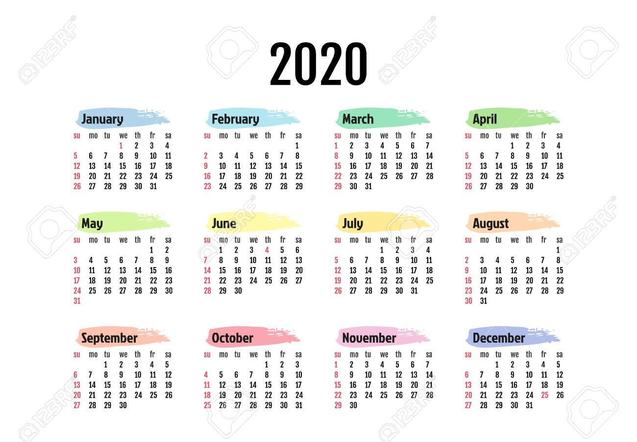 Calendar For 2020 Isolated On A White Background. Sunday To Monday,.. intended for 2020 Calendar Mondays