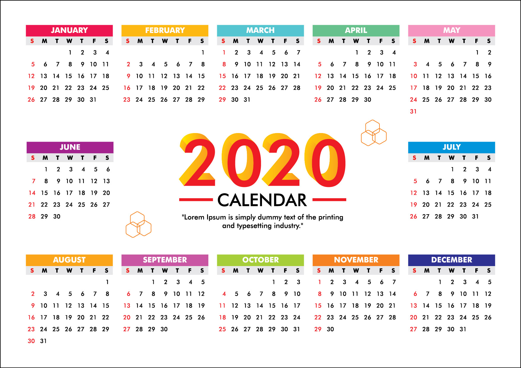 Calendar For 2020 Week Starts Sunday Free Vector  Graphics Pic inside 2020 Calendar Vector Free