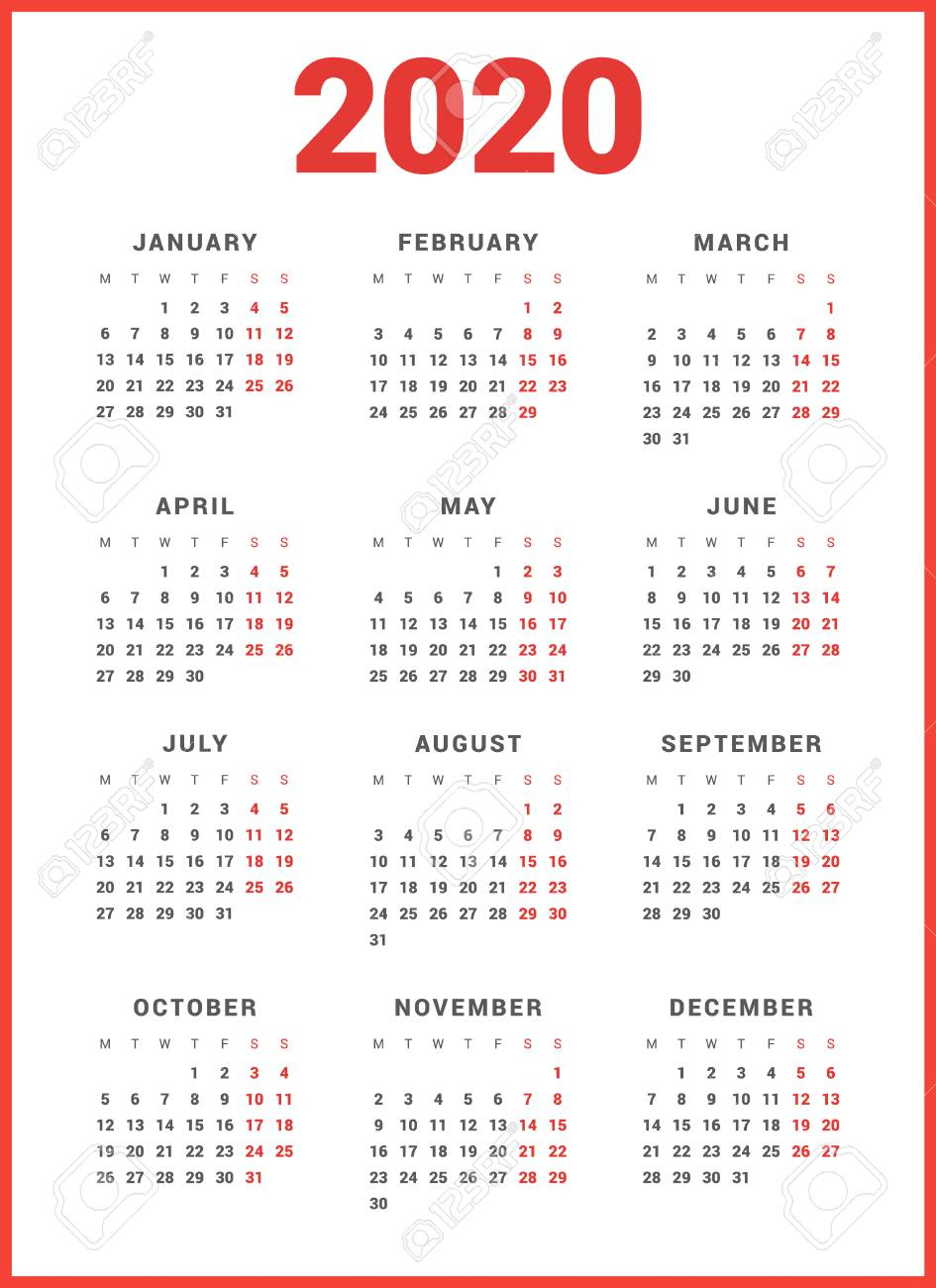 Calendar For 2020 Year On White Background. Week Starts Monday with regard to 2020 Calendar Template Monday Start