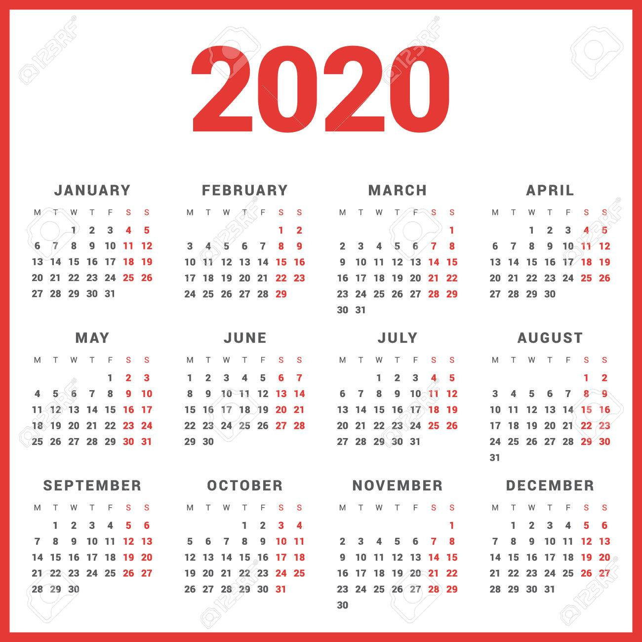 Calendar For 2020 Year On White Background. Week Starts Monday within 2020 Calendar Mondays