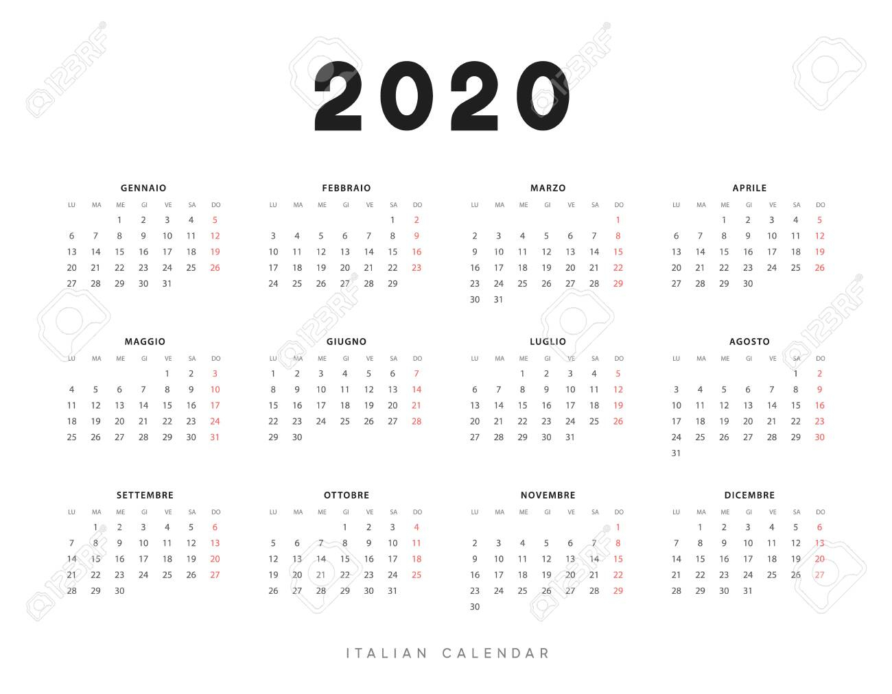 Calendar For 2020 Year. Week Starts On Monday. Planner For 12.. intended for 2020 Calendar Mondays