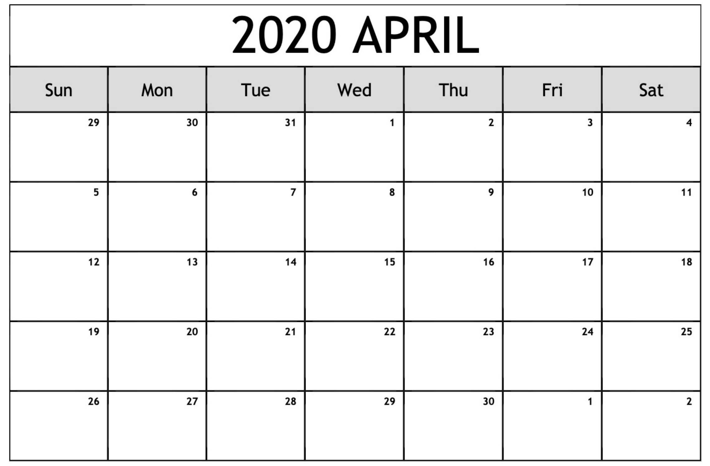Calendar For April 2020 Printable Template  2019 Calendars with regard to April 2020 Printable Calendar