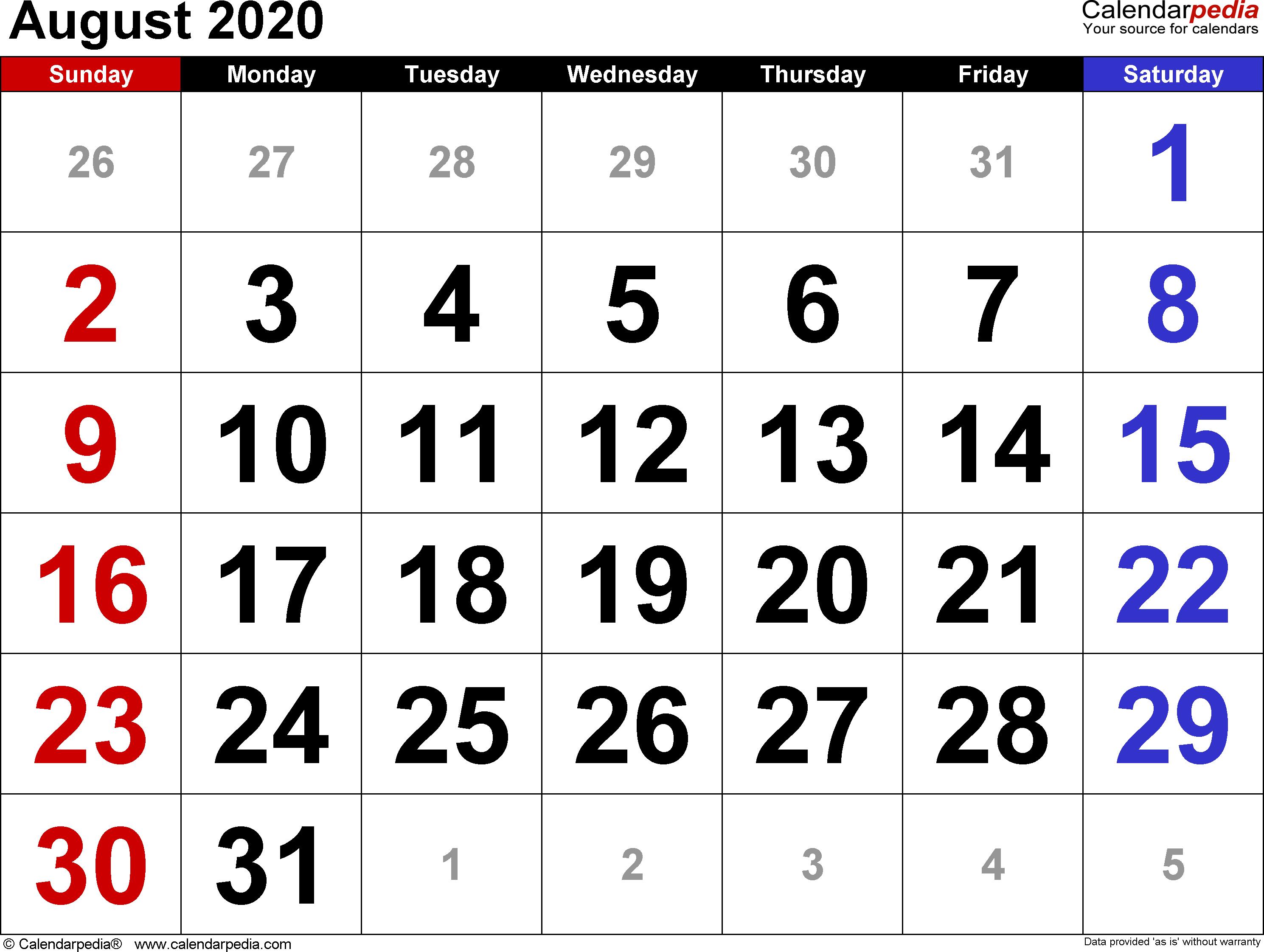 Calendar For Aug 2020  Bolan.horizonconsulting.co inside August 2020 Calendar Printable