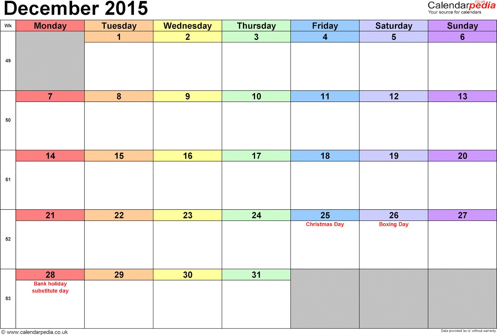 Calendar For December 2015, January 2016: December 2015 pertaining to December 2015 Calendar Printable