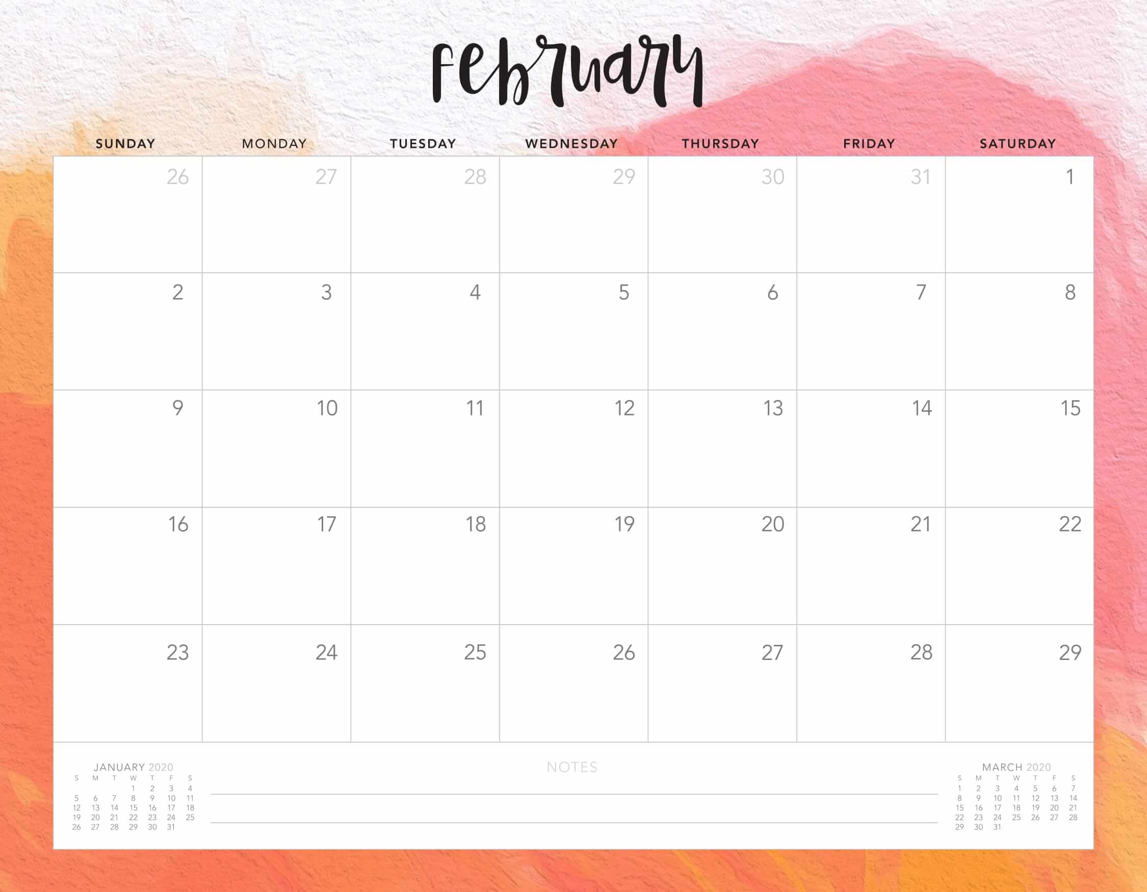 Calendar For February 2020 Holiday Template  2019 Calendars inside February 2020 Daily Calendar