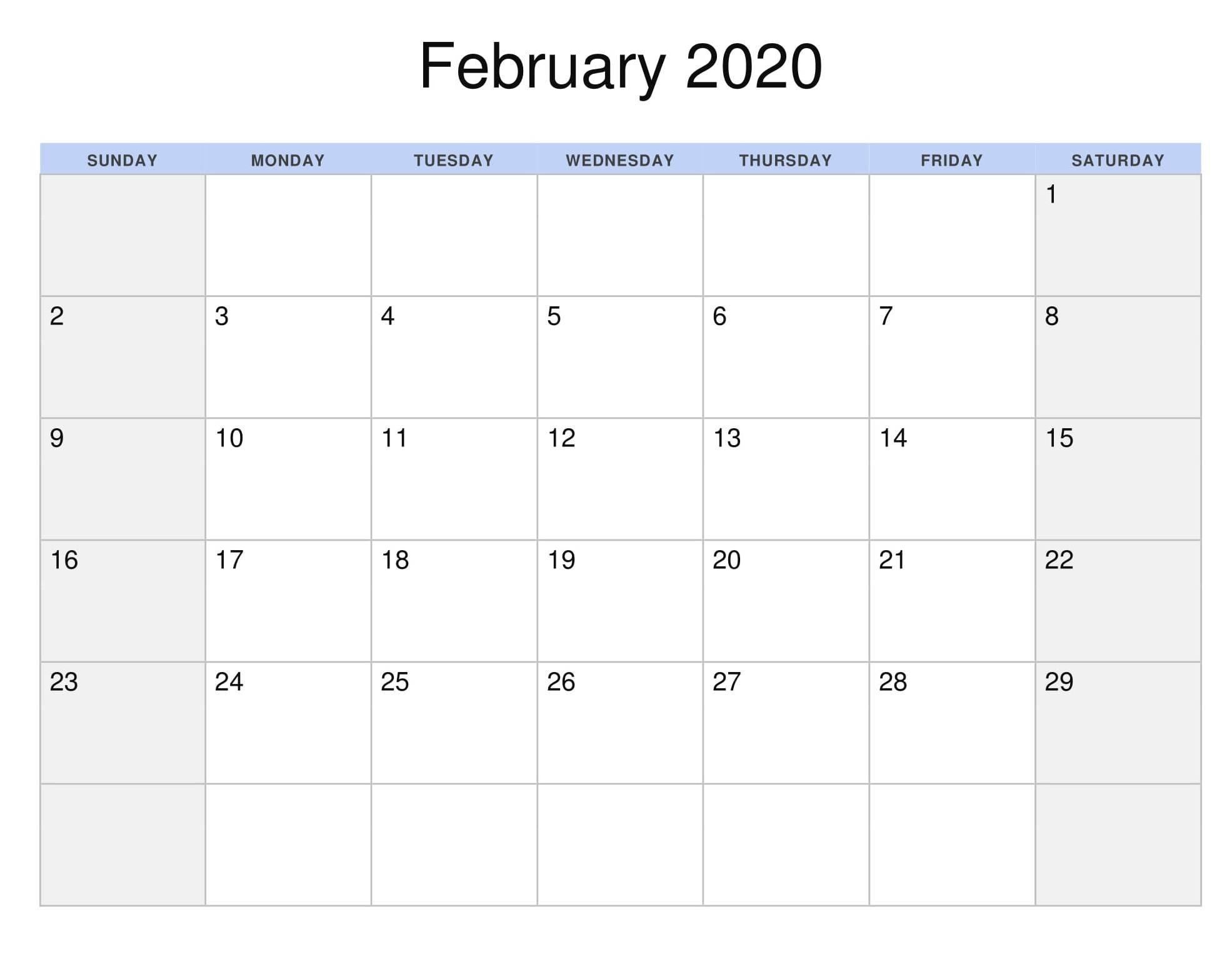 Calendar For February 2020 Holiday Template  2019 Calendars throughout February 2020 Daily Calendar