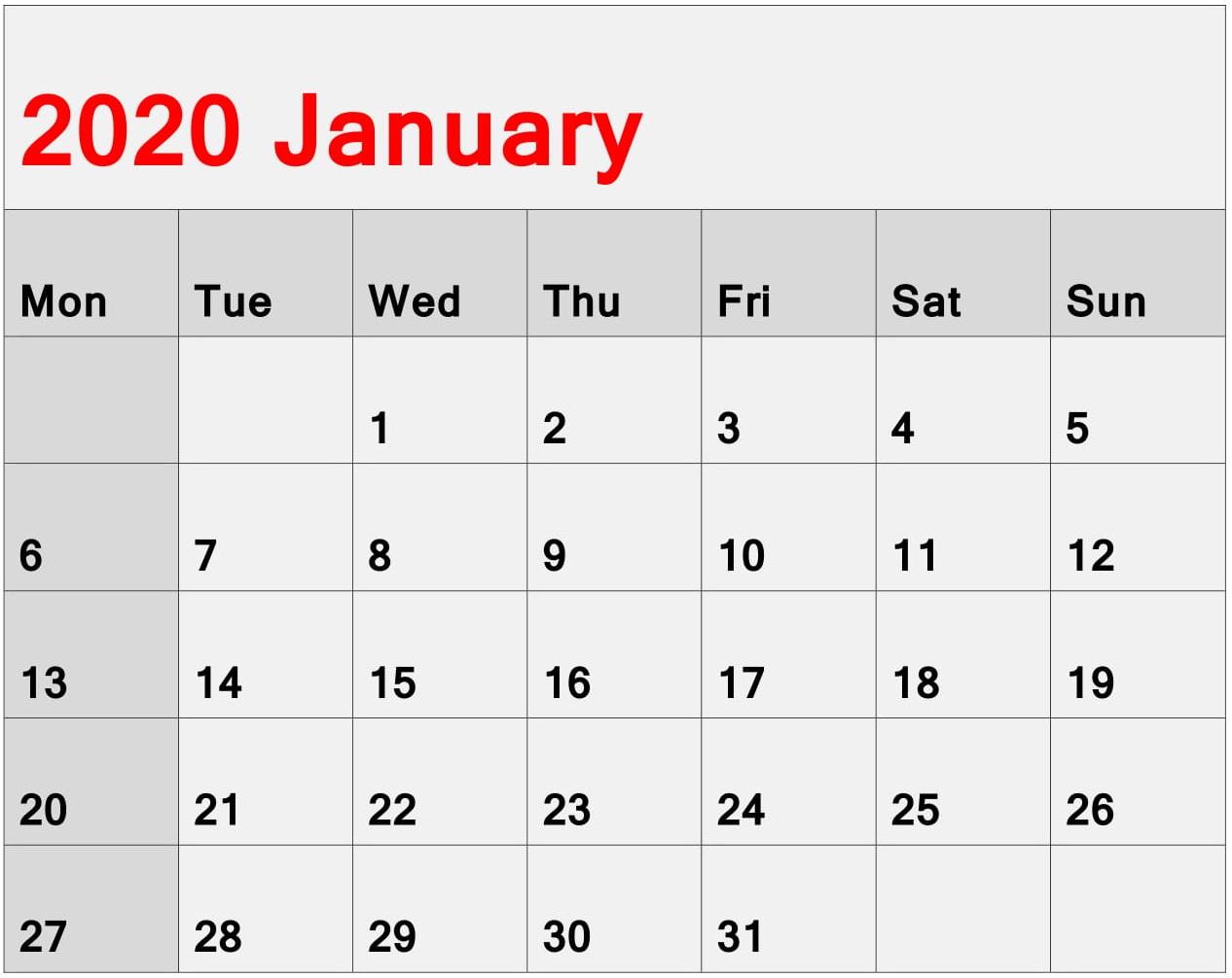 Calendar For January 2020 Excel Format  Latest Printable intended for Jan 2020 Calendar