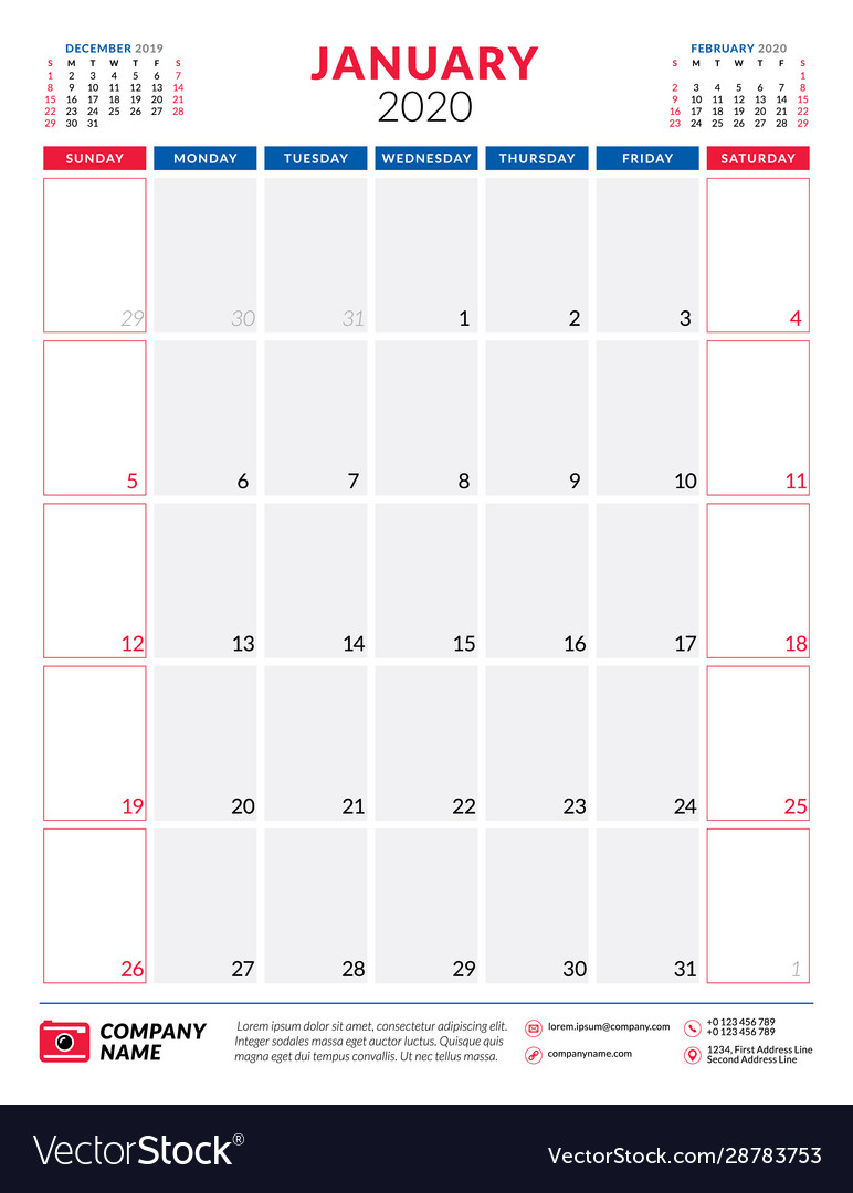 Calendar For January 2020 Planner Stationery for 123 Calendar January 2020