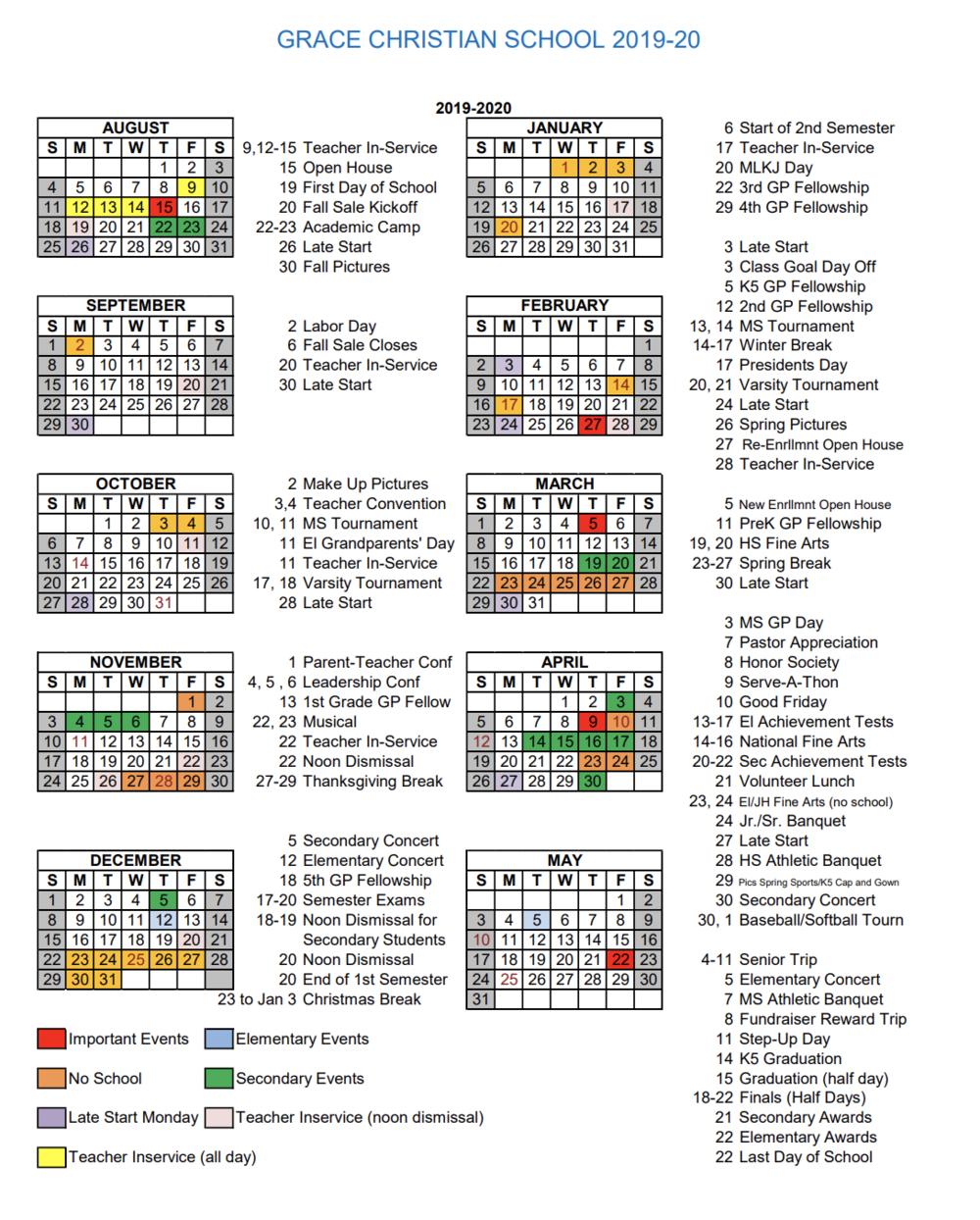 Calendar — Grace Christian School throughout 1St 3Rd And 5Th Weekend Calendar 2020