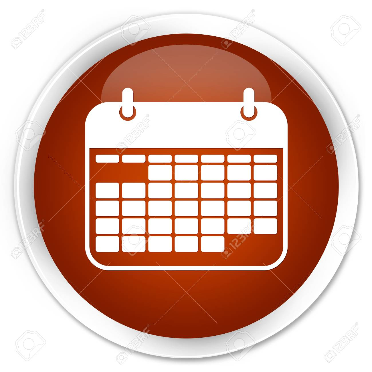 Calendar Icon Brown Glossy Round Button with Round Calendar Icon