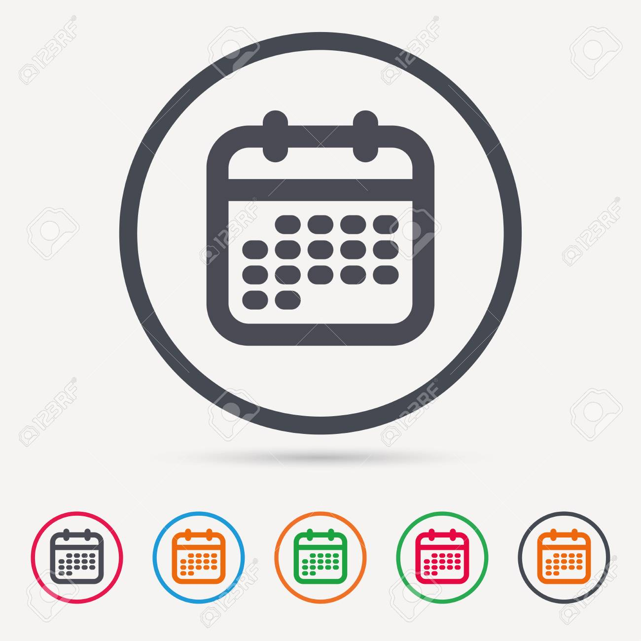 Calendar Icon. Events Reminder Symbol. Round Circle. Colored.. intended for Calendar Icon Round
