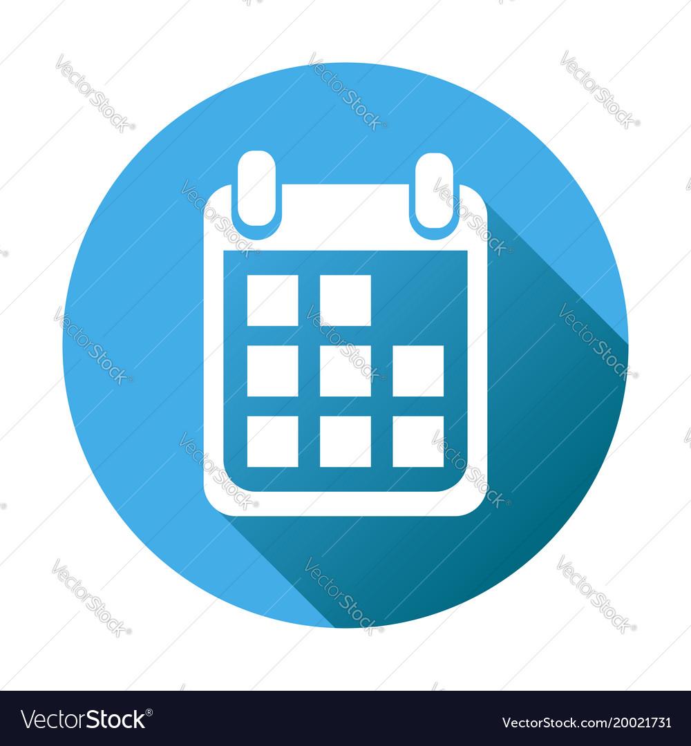 Calendar Icon On Blue Round Background Flat inside Calendar Icon Round