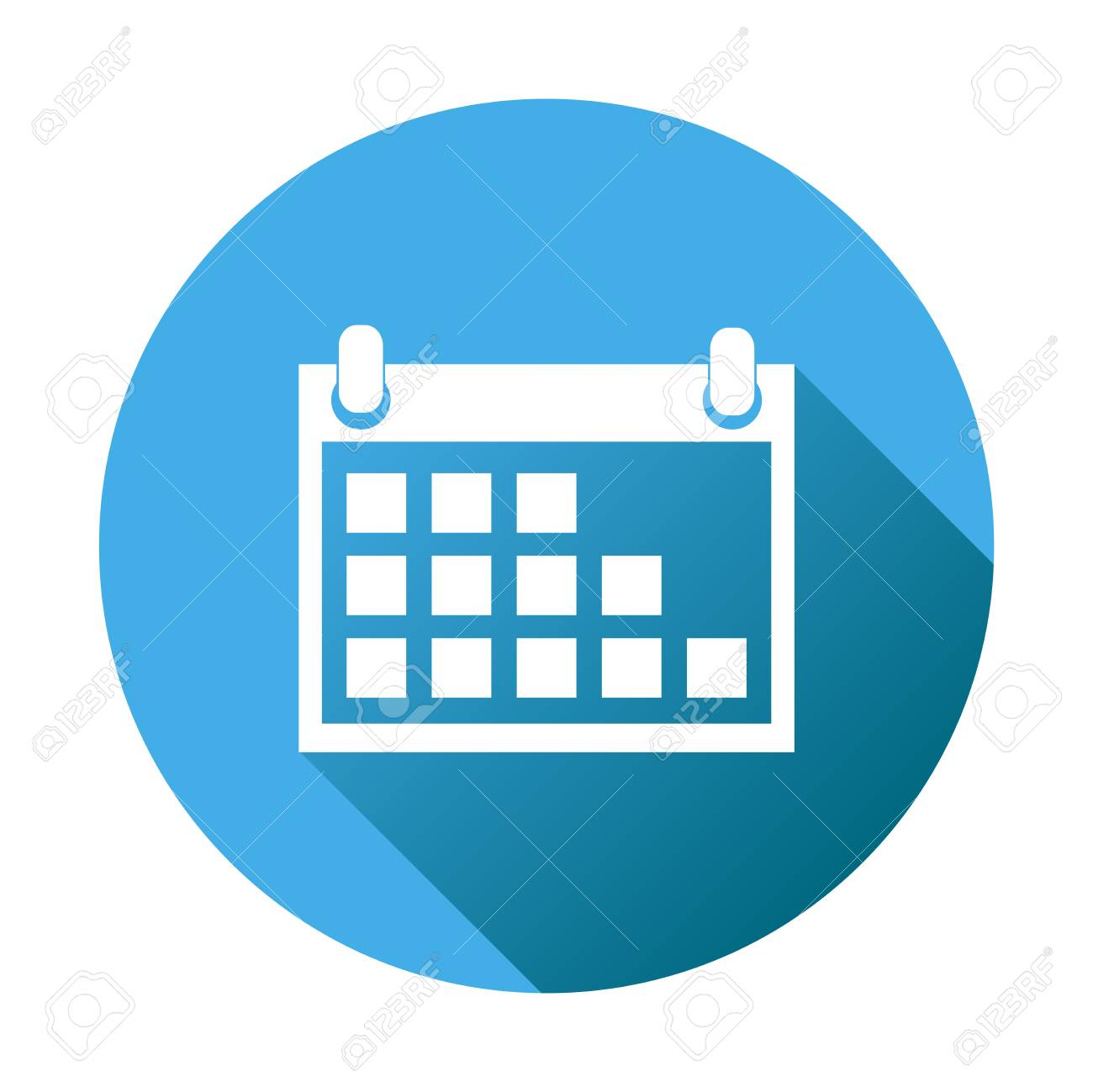 Calendar Icon On Blue Round Background, Vector Illustration intended for Calendar Icon Round