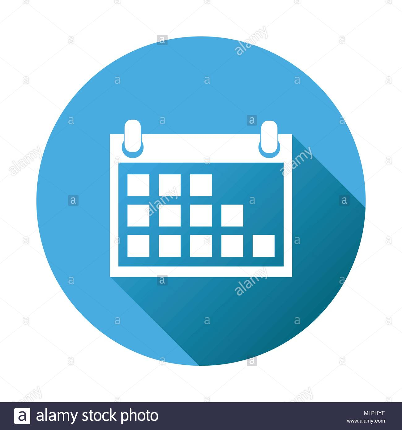 Calendar Icon On Blue Round Background, Vector Illustration intended for Round Calendar Icon