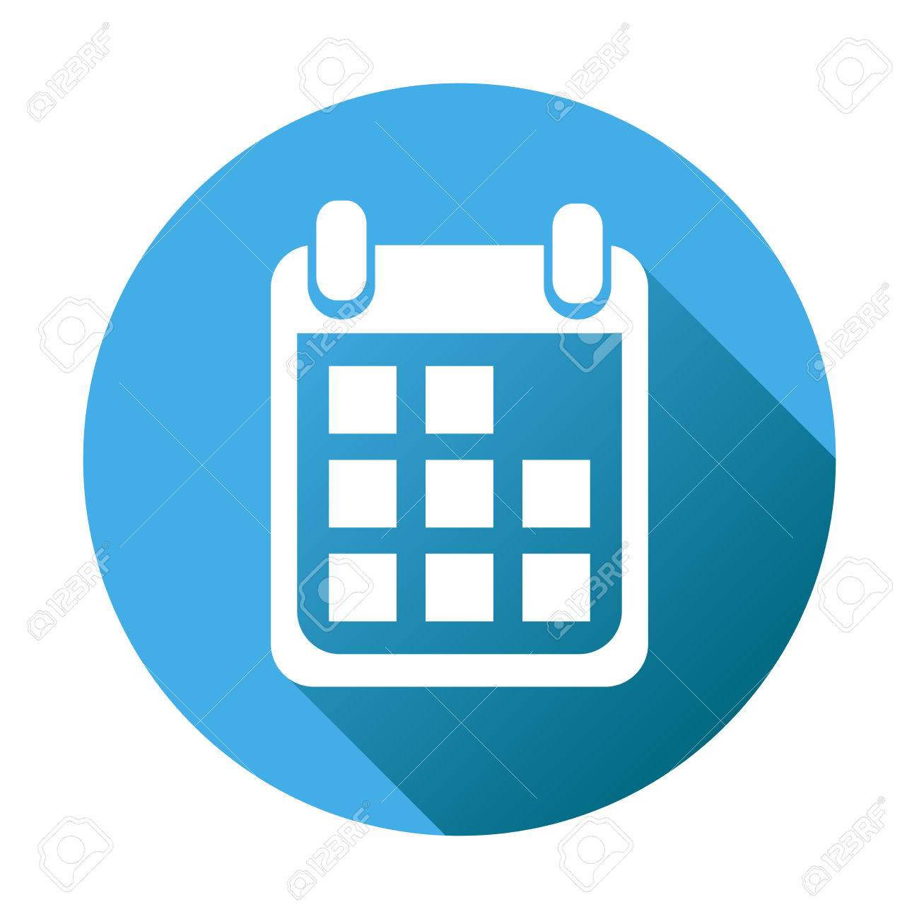 Calendar Icon On Blue Round Background, Vector Illustration within Round Calendar Icon