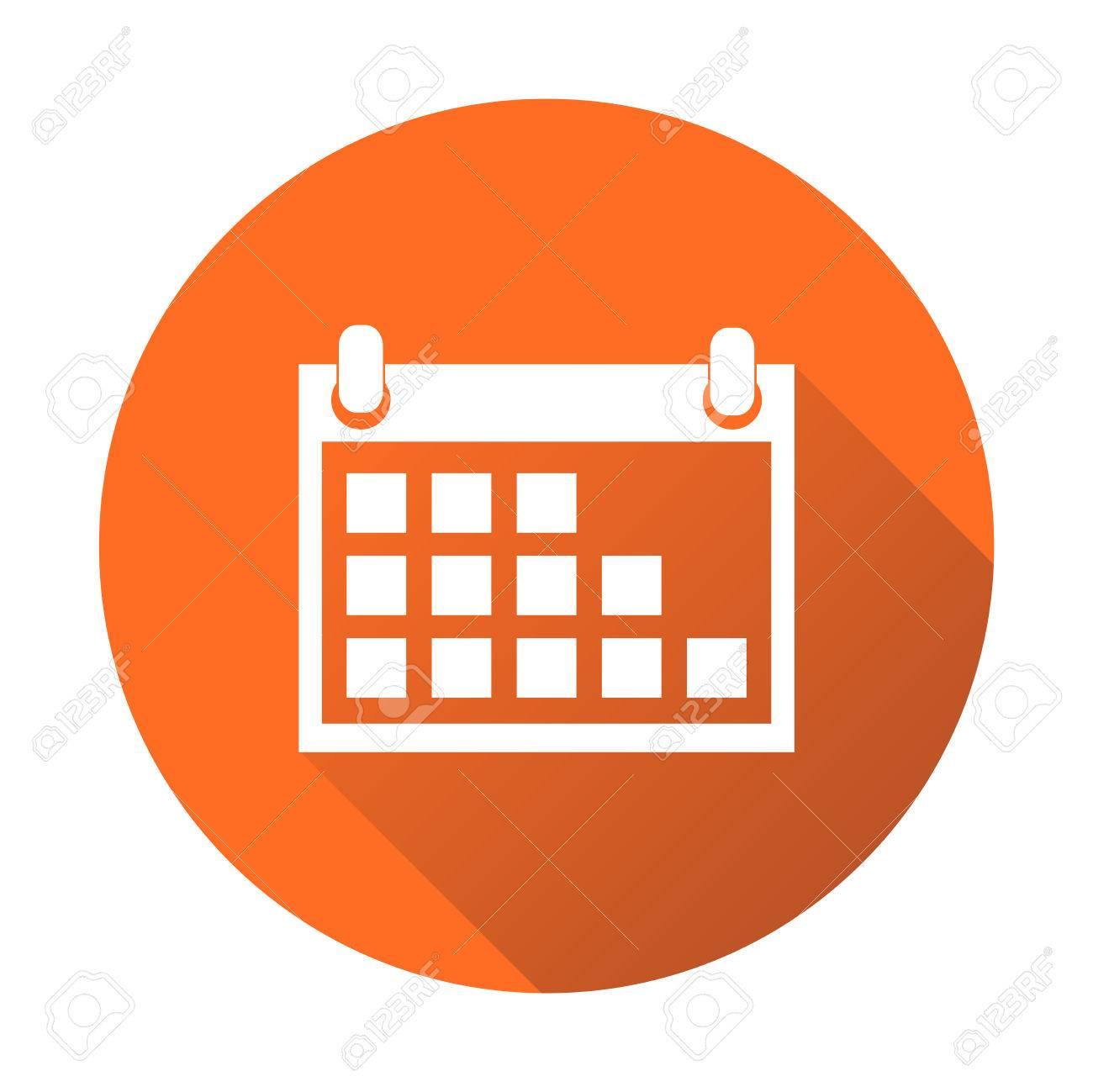 Calendar Icon On Orange Round Background, Vector Illustration inside Calendar Icon Round