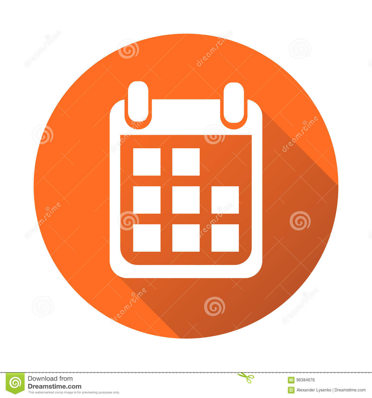 Calendar Icon On Orange Round Background, Vector intended for Round Calendar Icon