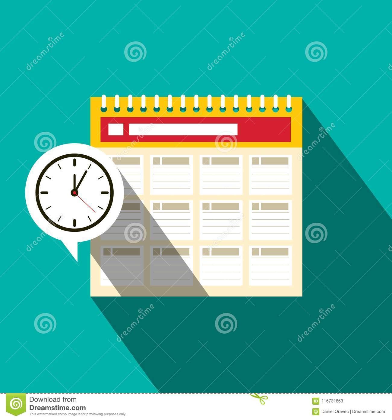 Calendar Icon With Clock. Schedule Flat Design Concept regarding Calendar Flat Design