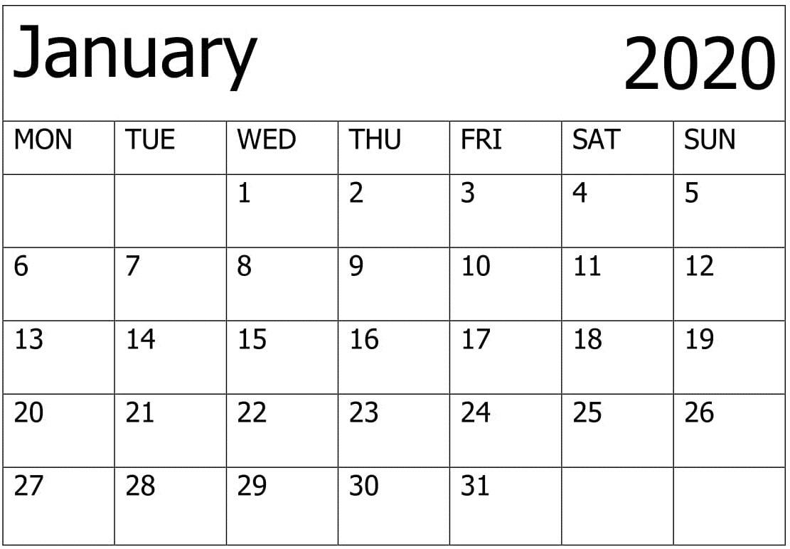 Calendar January 2020 Printable – For Classroom Management with Jan 2020 Printable Calendar