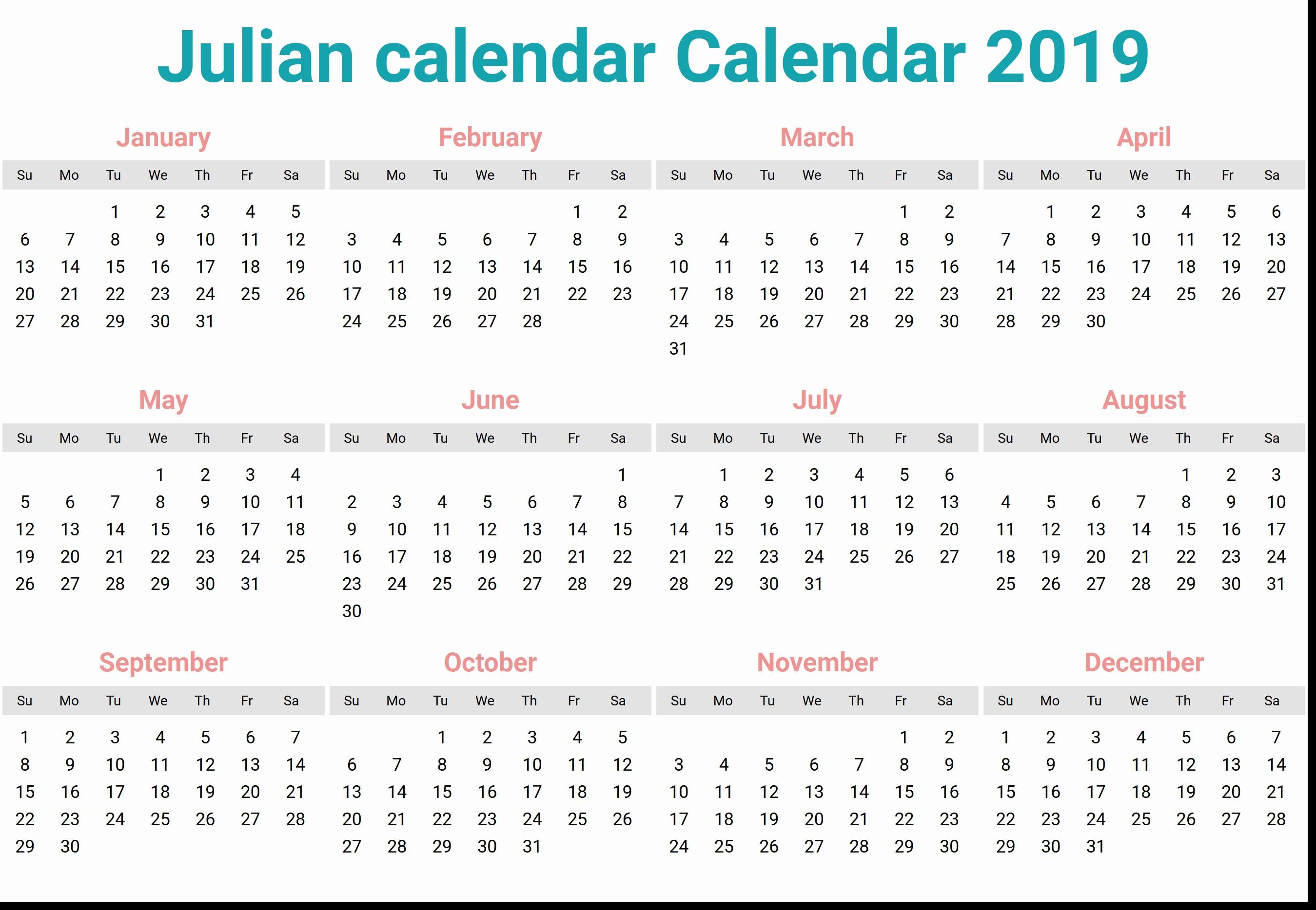 Calendar Julian  Neyar.kristinejaynephotography inside Quadax Julian Calendar 2020