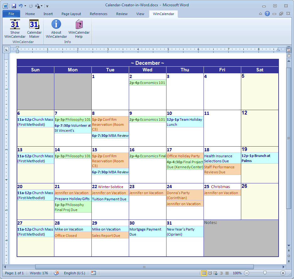 Calendar Maker & Calendar Creator For Word And Excel regarding Win Calendar Maker