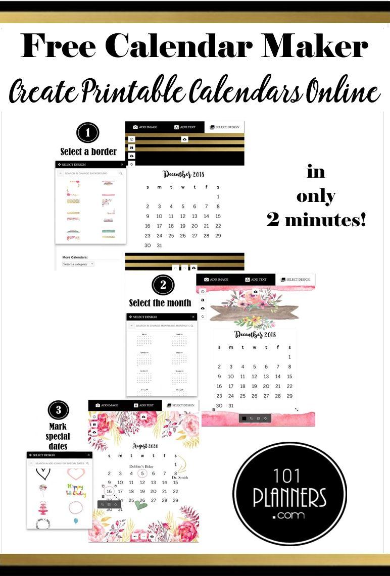 Calendar Maker | Free Calendar, Free Calendar Maker, Online in Calendar Maker Free Printable