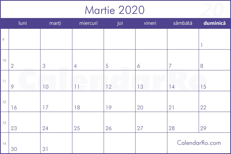 Calendar Martie 2020 within Calendar Martie 2020