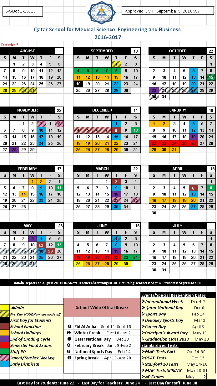 Calendar | Michael E. Debakey High School  Qatar for Debakey High School Calendar
