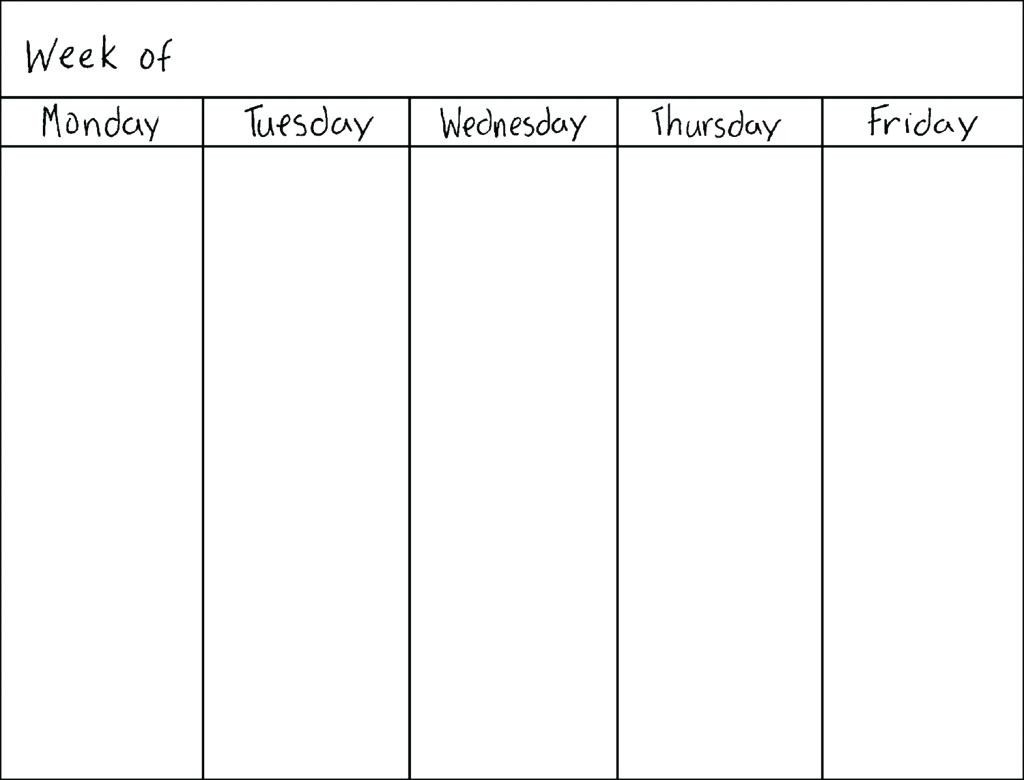 Calendar Monday Through Friday Schedule | Calendar Printing with Monday Through Friday Blank Calendar
