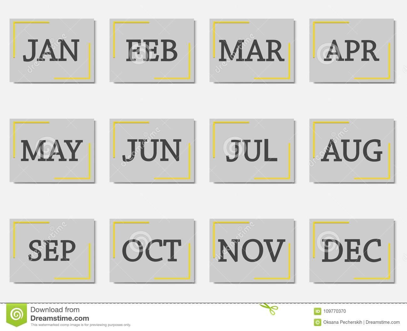 Calendar Month Set Icon On Grey Color Stock Vector inside Calendar Icon Grey