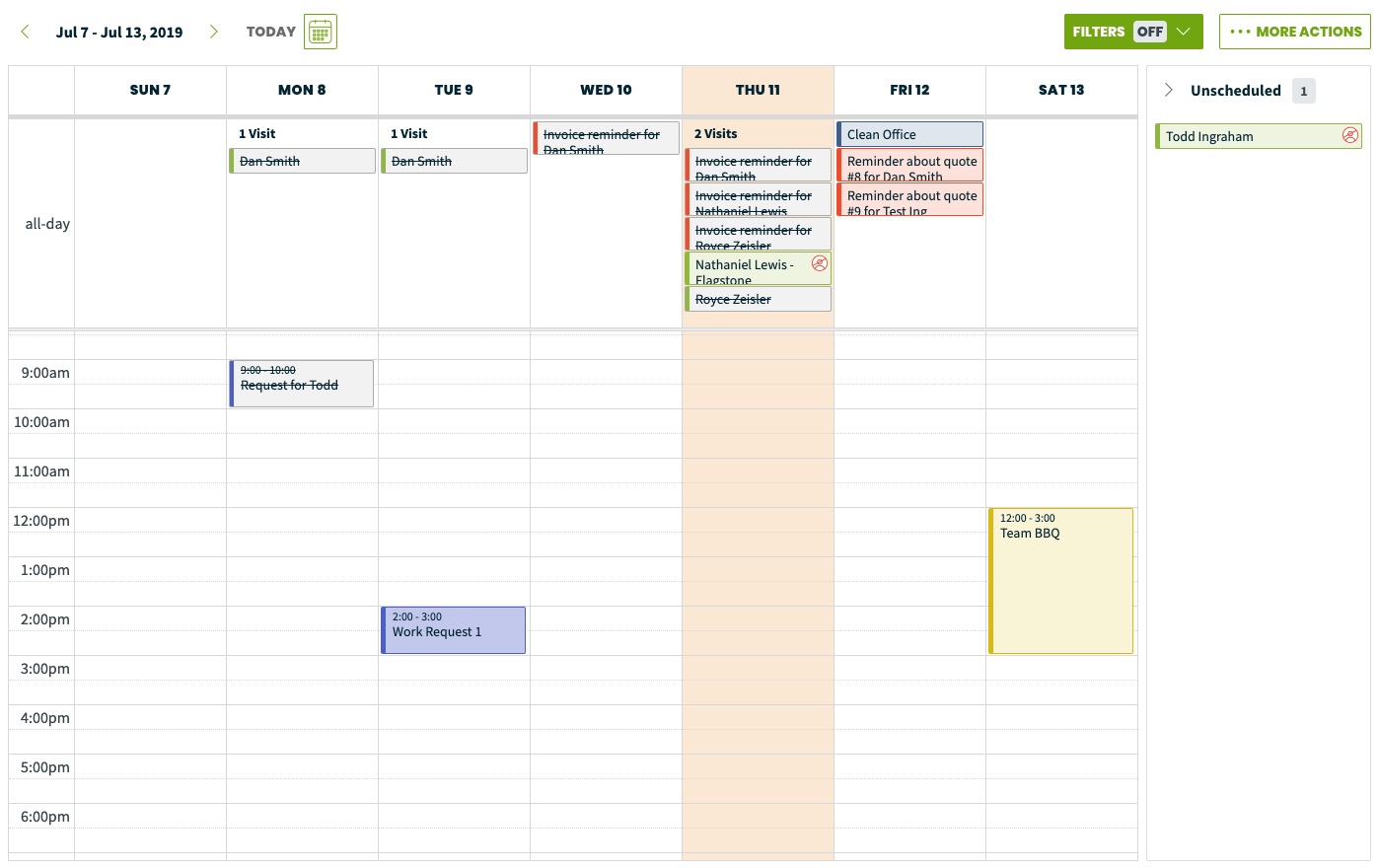 Calendar  Month & Week View – Jobber Help Center with regard to One Week Calendar With Time Slots