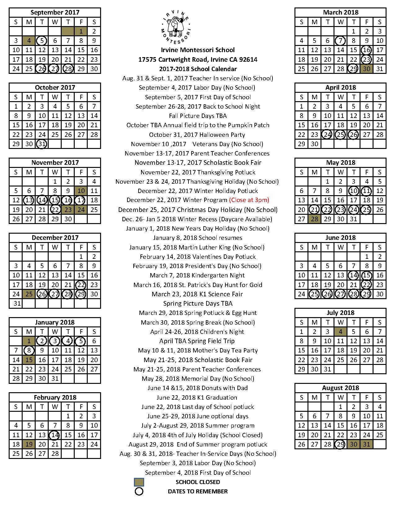 Calendar | Newport Montessori School | pertaining to 2020 And 2020 Pei School Calendar