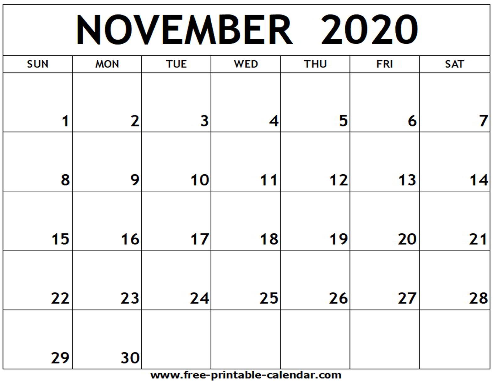 Calendar November 2020 November 2020 Printable  Bolan pertaining to Michel Zbinden December 2020