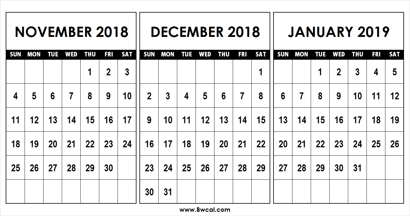 Calendar November December 2018 January 2019 Template within November December January Calendar