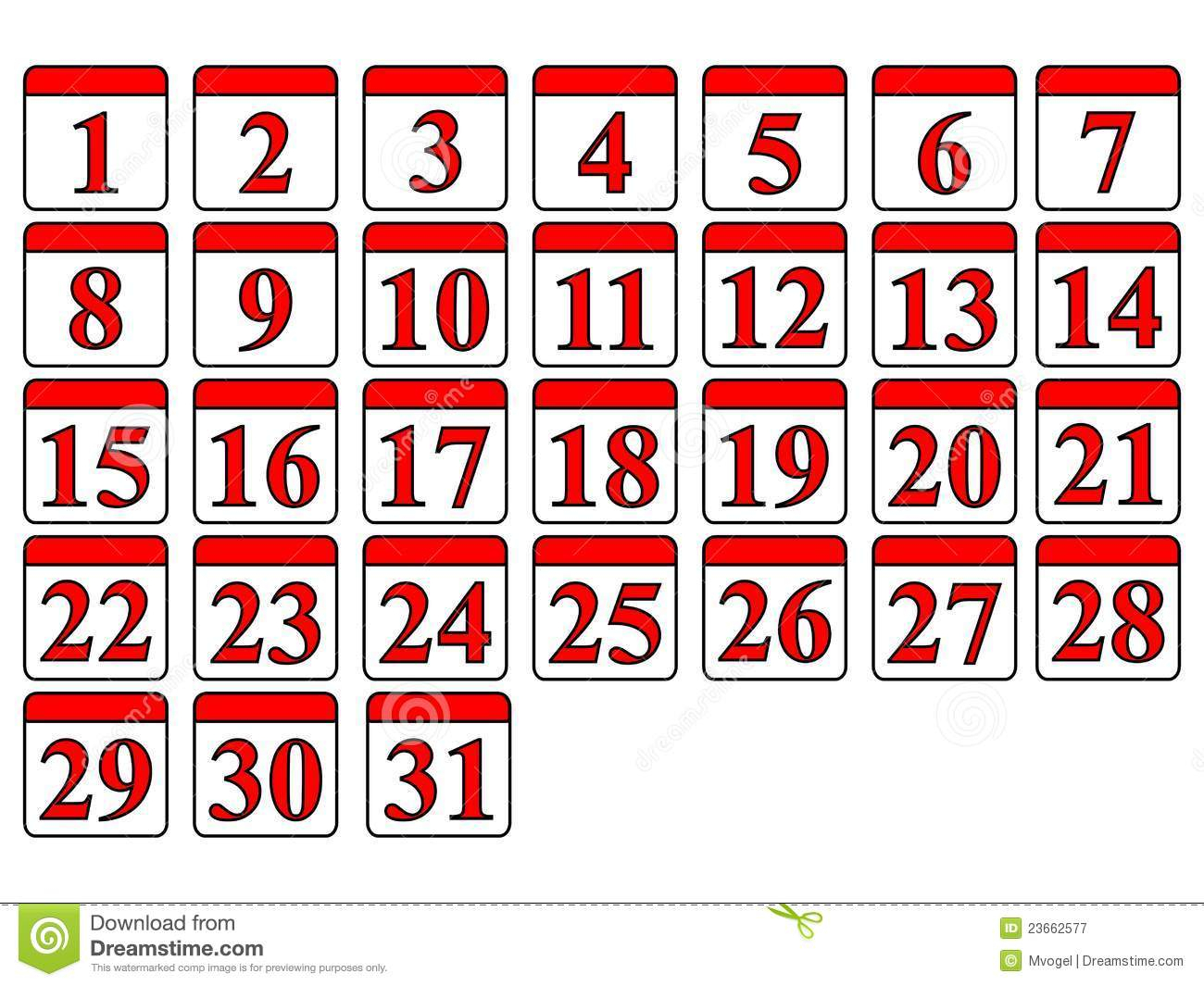 Calendar Numbers Clipart regarding Calendar Numbers 1-31 Printable