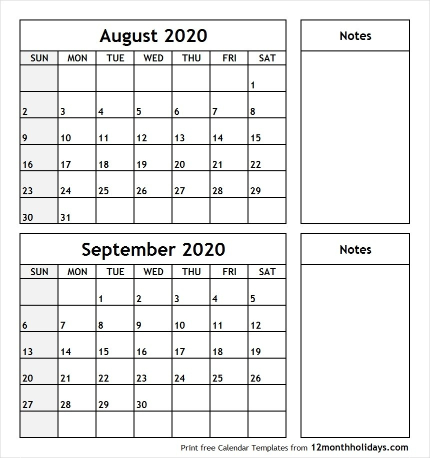 Calendar Of August And September 2020 | Example Calendar within Calender August And September 2020