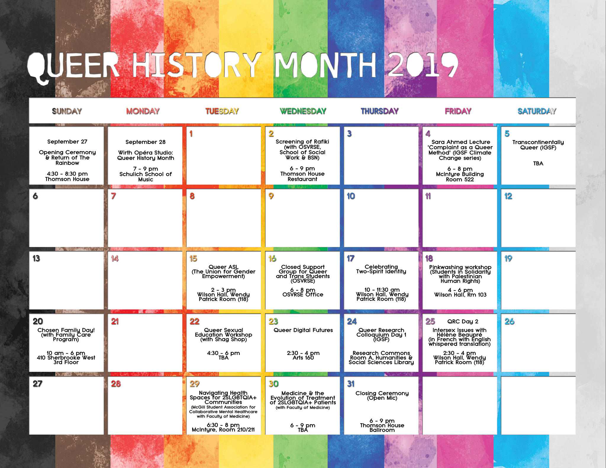 Calendar Of Events Queer History Month 2019 | Subcommittee regarding Max 30 Calendar Month 2