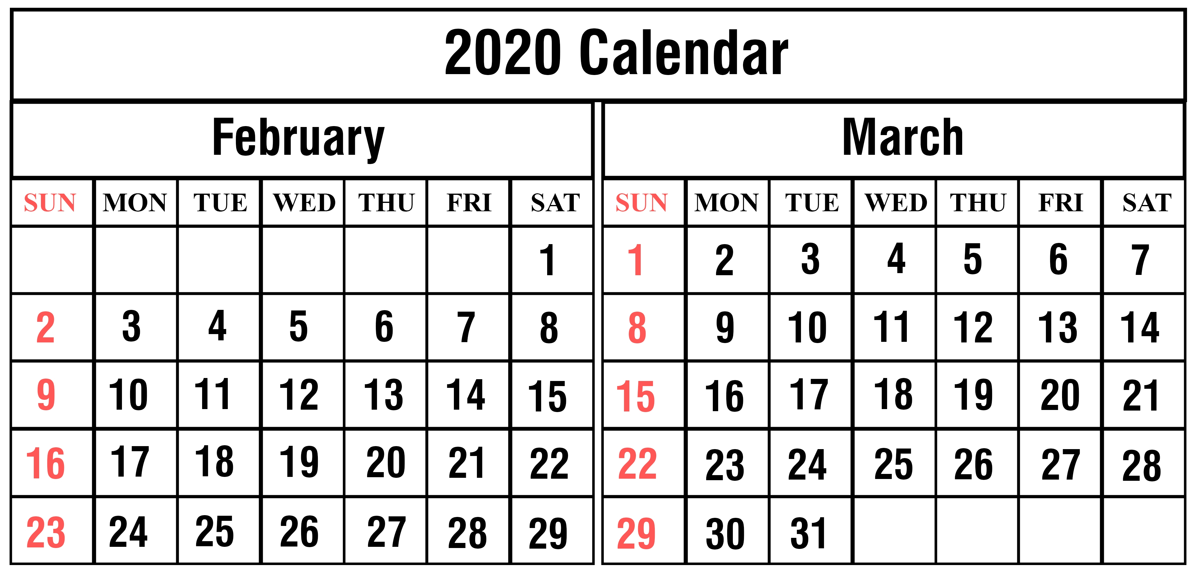 Calendar Of February And March 2020 | Calendar Template intended for Feb And March 2020
