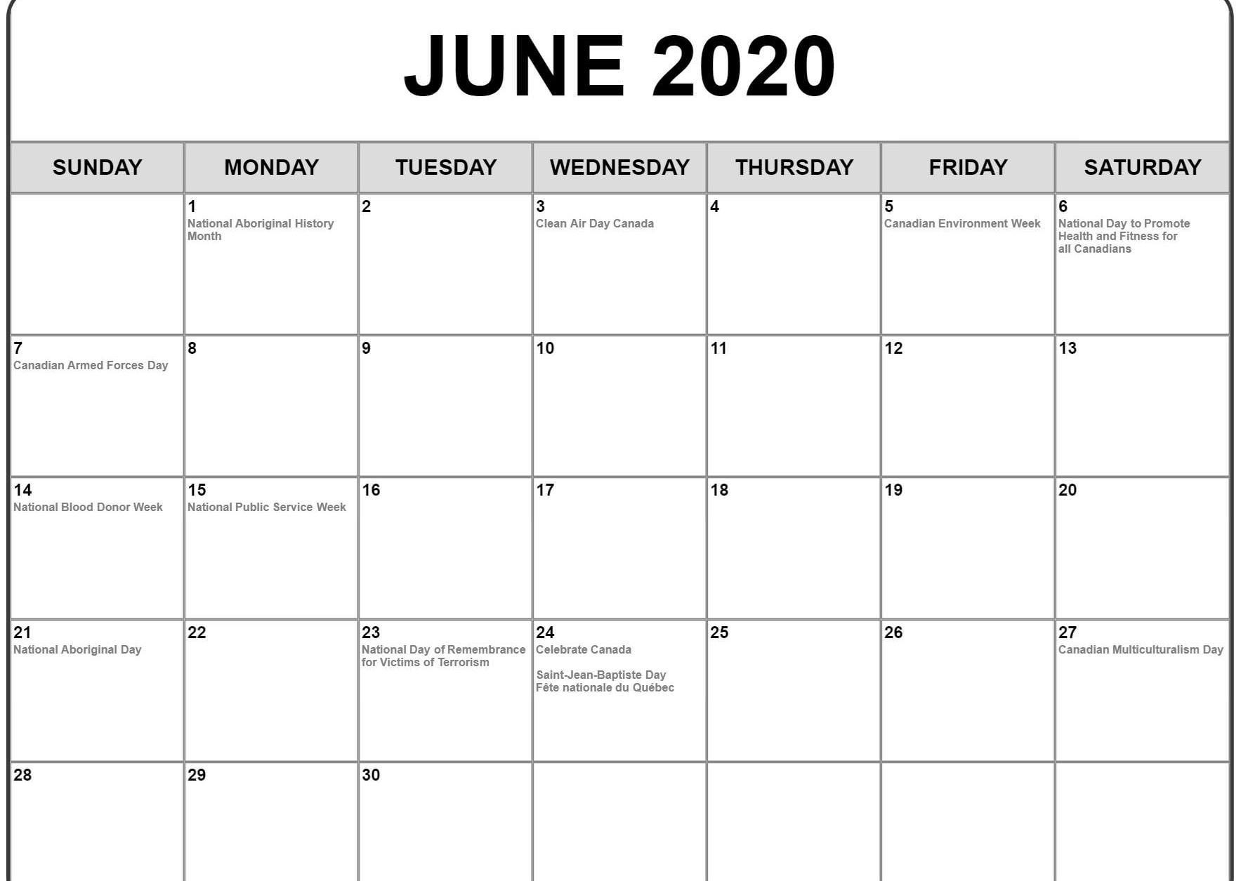 Calendar Of National Days June 2020 | Example Calendar Printable inside National Day Calendar June 2020