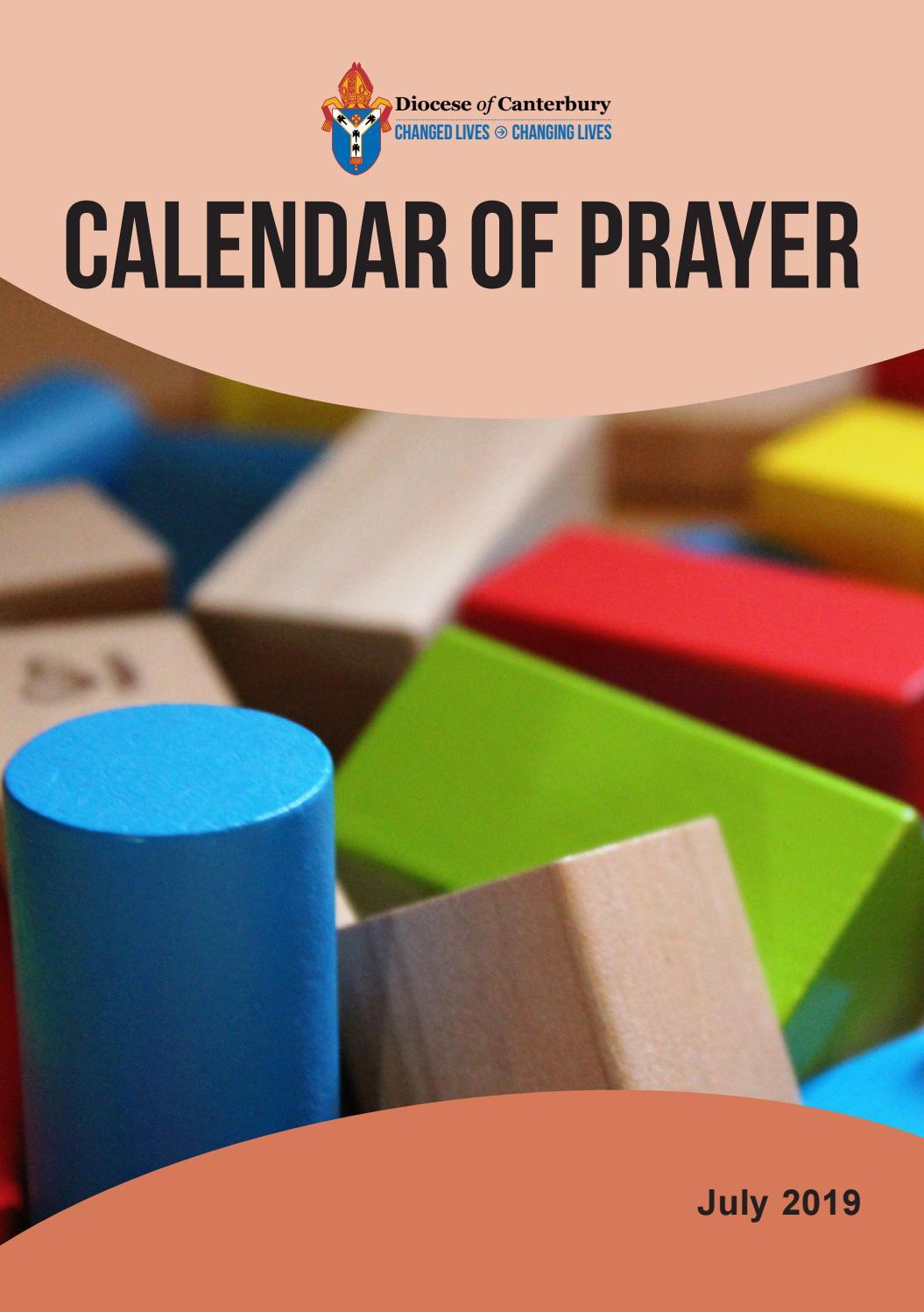Calendar Of Prayer  July 2019 By The Diocese Of Canterbury inside Roger Rowe School Calendar