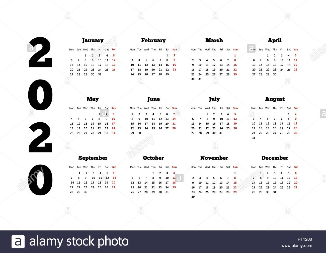 Calendar On 2020 Year With Week Starting From Monday, A4 within 2020 Calendar Mondays