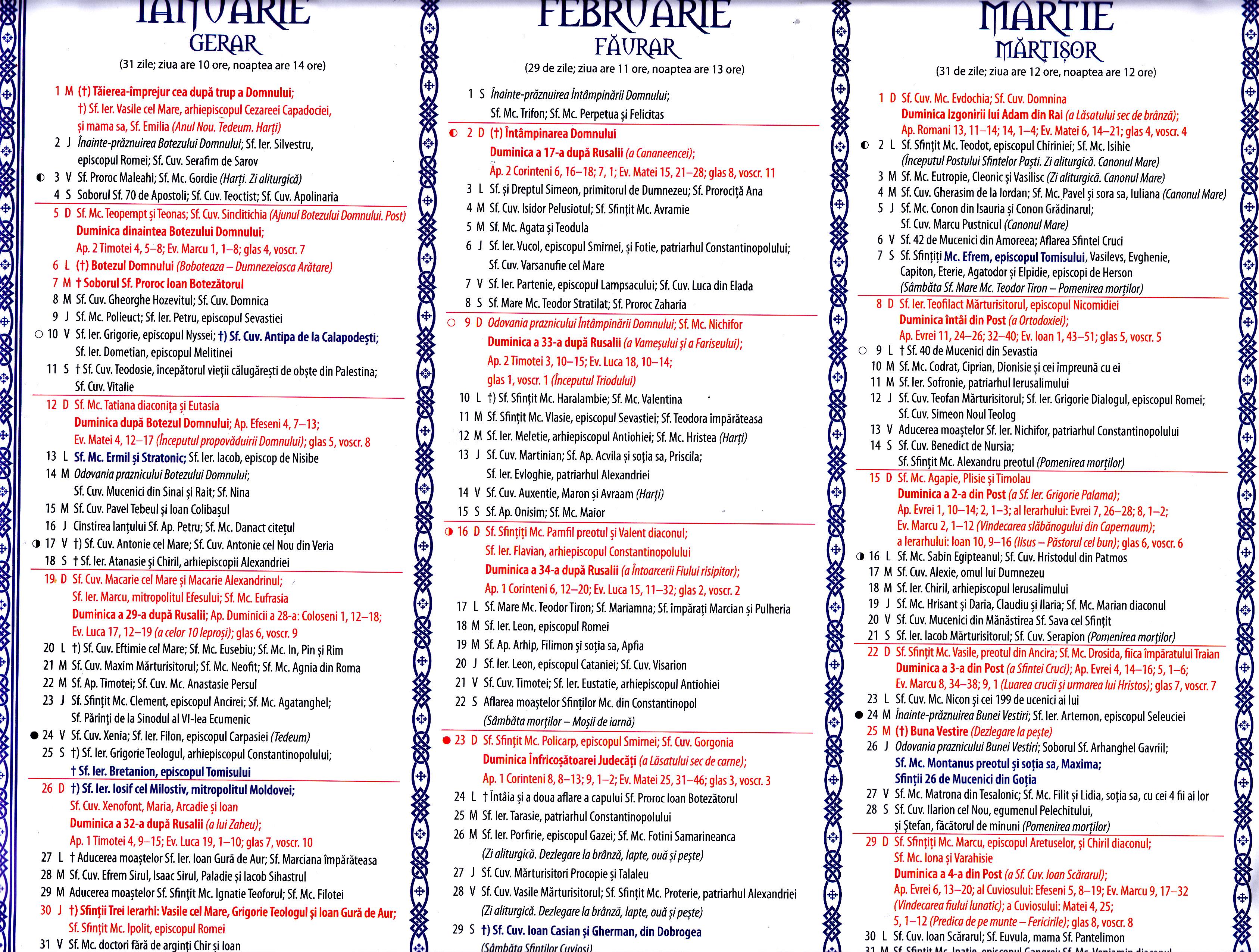 Calendar Ortodox  2020 regarding Calendar Martie 2020