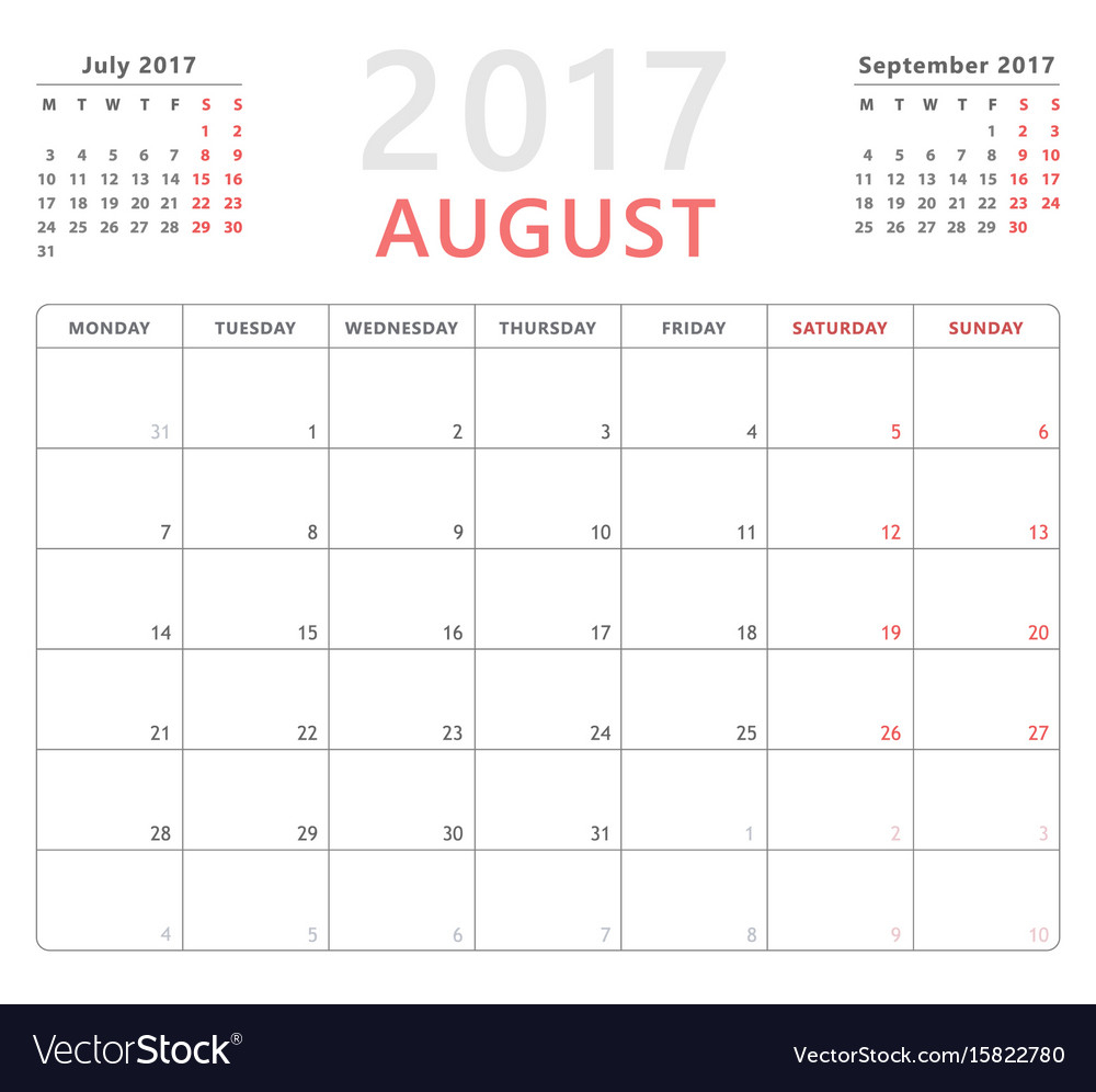 Calendar Planner 2017 August Week Starts Monday for Monday To Friday Planner