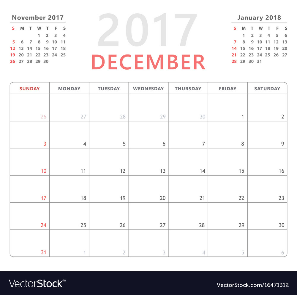 Calendar Planner 2017 December Week Starts Sunday intended for Saturday To Friday Calendar